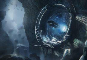 miner base, космос, астероид, база, космический корабль