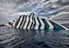 Италия, Лайнер, конкордия, крушение, корабль, тучи