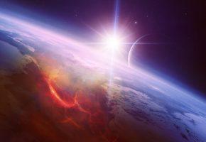 Обои космос, звезда, свечение, планета, звезды