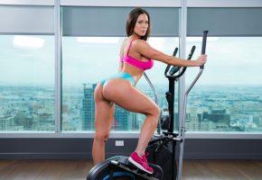 девушка, спорт, фитнесс, велотренажер, фигура