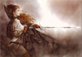 Обои луис ройо, luis, воин, девушка, tatoo, меч