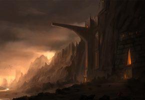 Обои замок, арт, река, скалы, горы, крепость