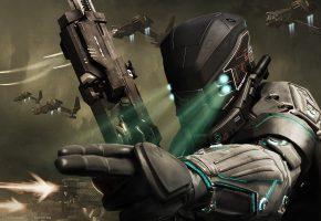 Обои снаряжение, оружие, подсветка, корабли, армия, шлем, солдат