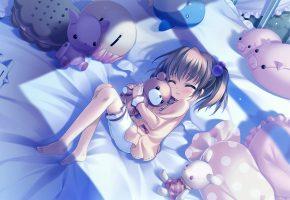 Обои девочка, постель, игрушки, мишка, кровать