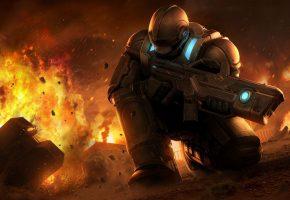 Обои солдат, костюм, защита, взрыв, оружие