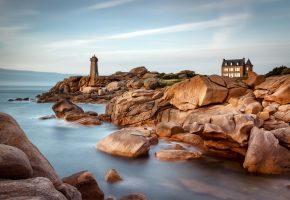 Обои Франция, Brittany, Бретань, маяк, камни, замок