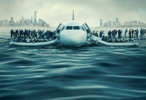 Обои Чудо на Гудзоне, самолёт, люди, река