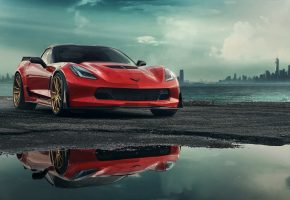 Chevrolet, Red, Corvette, C7, Car, Шевроле, Корвет, красный, авто