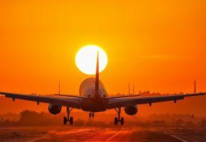 самолет, посадка, солнце, закат, крылья, вечер