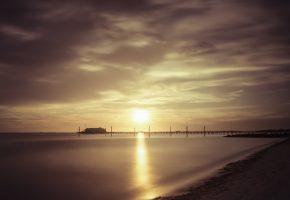 вечер, берег, море, пристань, горизонт