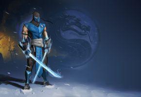 мечи, Sub-Zero, ниндзя, Mortal Kombat, Саб-Зиро