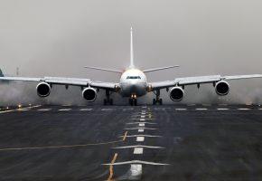 Airbus, A340, самолет, полоса, крылья, двигатели