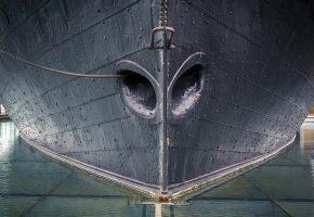 макро, корабль, порт, корма, металл