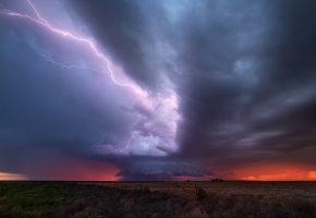 небо, шторм, вечер, молнии, тучи