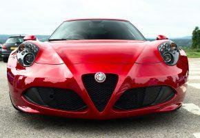 Alfa Romeo, перед, Красный, Фары