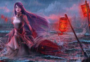 платье, фонари, арт, девушка, вода, волны, взгляд