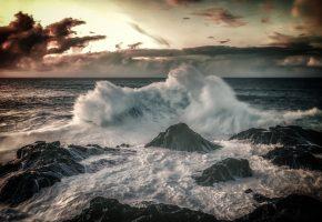 Канарские острова, Испания, Атлантический океан, волна, прибой, камни, брызги
