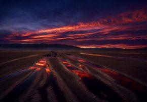 песок, закат, небо, отражения, утро, лужи
