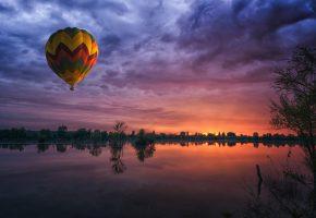 шар, водоём, природа, закат, деревья, небо, отражение