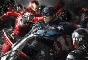 Обои Iron Man, Avengers, Age of Ultron, арт, комикс, битва, Captain America, фантастика, супергерои, Мстители, Эра Альтрона