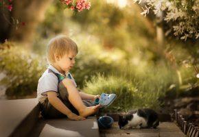 ребенок, мальчик, котёнок, друзья, природа
