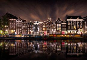 город, ночь, вода, отражение, Нидерланды, Амстердам, огни