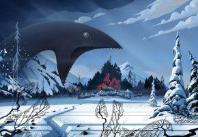 art, пейзаж, монстр, зима, снег, banner saga, деревня