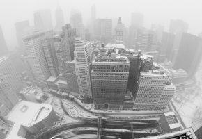 город, Нью Йорк, дома, небоскребы, зима