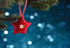 игрушка, звезда, 2017, ель, праздник