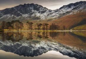 озеро, горы, пейзаж, отражение, деревья