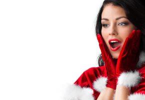 девушка, перчатки, восторг, радость, брюнетка, новый год, снегурочка, удивление, макияж, мех