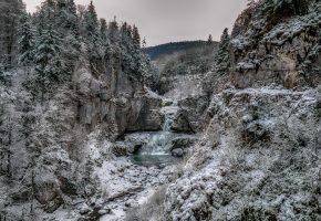 зима, лес, река, водопад, снег