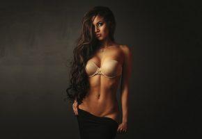 девушка, брюнетка, модель, поза, фигура, тело, белье, животик