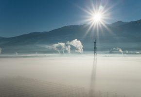 лэп, утро, туман, дым, солнце
