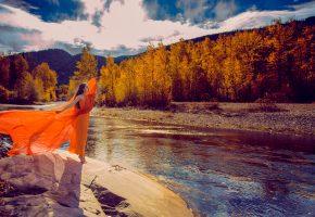 платье, осень, девушка, река, пейзаж
