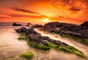 закат, солнца, море, камни, дымка