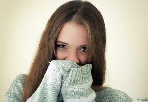 модель, Анна, девушка, oboitut, глаза, волосы, свитер, взгляд