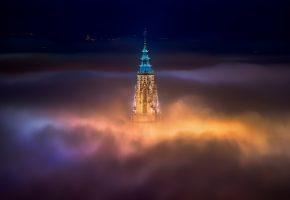 ночь, собор, город, крыша, туман, церковь, свет