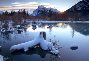 зима, озеро, снег, коряга, утро, горы