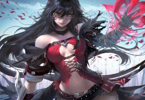 Обои art, девушка, пиратка, длинные, волосы, магия, anime