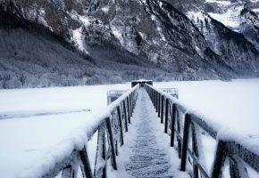 зима, горы, мост, озеро, снег, лед