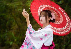 азиатка, кимоно, зонтик, девушка