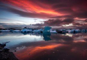 облака, небо, лёд, зима, Исландия