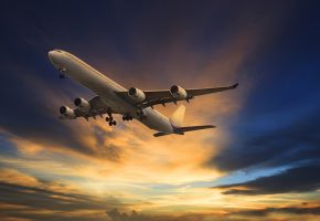 Самолет, облака, летит, зарево, небо, пассажирский, двигатели