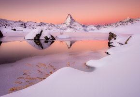 Альпы, гора, Маттерхорн, зима, снег, озеро