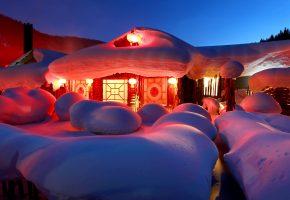 зима, снег, ночь, дом, огни, сугробы