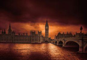 река, Лондон, Англия, мост, башня, Темза