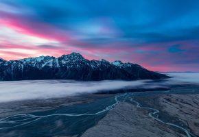 облака, долина, небо, туман, горы, утро