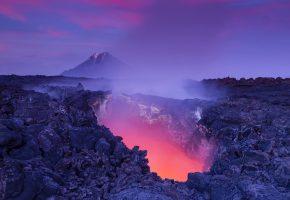 Базальт, магма, скалы, лава, горы, свет, пар