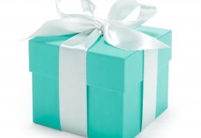 подарок, коробка, лента, праздник, голубой